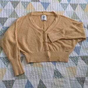 Abercrombie & Fitch Cropped Cardigan, L, Yellow